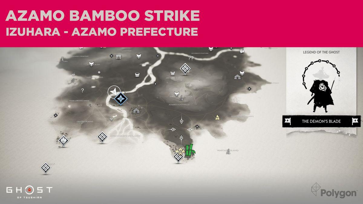 La ubicación del Bamboo Strike en Azamo, en Ghost of Tsushima