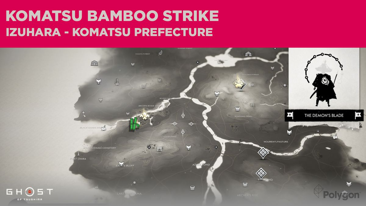 El sitio de Bamboo Strike en Komatsu, en Ghost of Tsushima