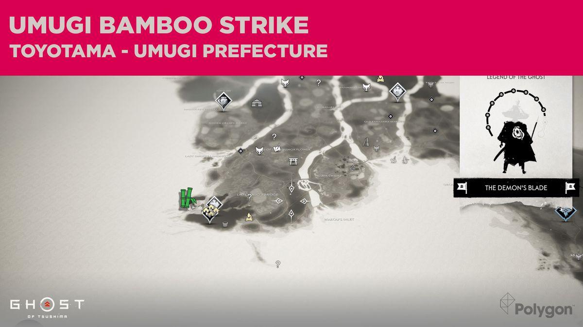 La ubicación del Bamboo Strike en Umugi en Ghost of Tsushima
