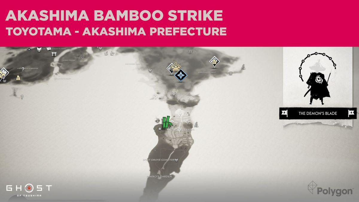 La ubicación de Bamboo Strike en Akashima en Ghost of Tsushima