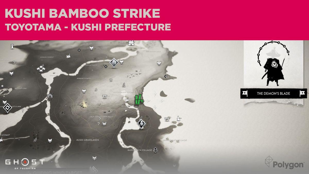 El sitio de Bamboo Strike en Kushi en Ghost of Tsushima