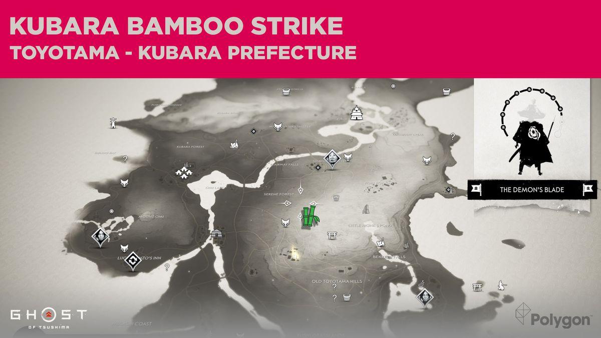 Ubicación de la huelga de bambú en Kubara en Ghost of Tsushima