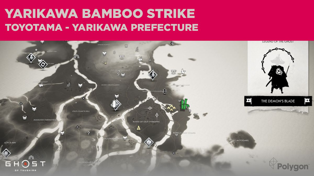 Sitio de Bamboo Strike en Yarikawa en Ghost of Tsushima