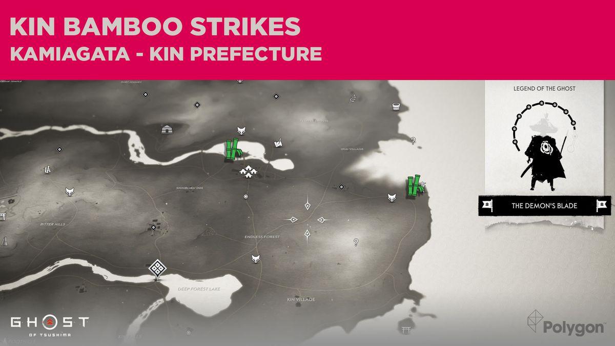 Ubicaciones de Bamboo Strike en Kin en Ghost of Tsushima