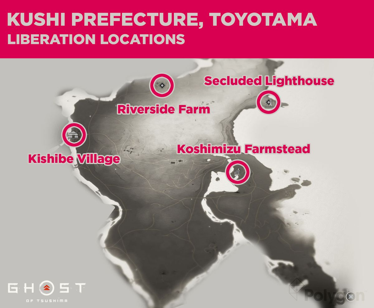 Lugares de lanzamiento para la prefectura de Kushi, que incluyen: Koshimizu Farmstead, Kishibe Village, Riverside Farm y Secluded Lighthouse.