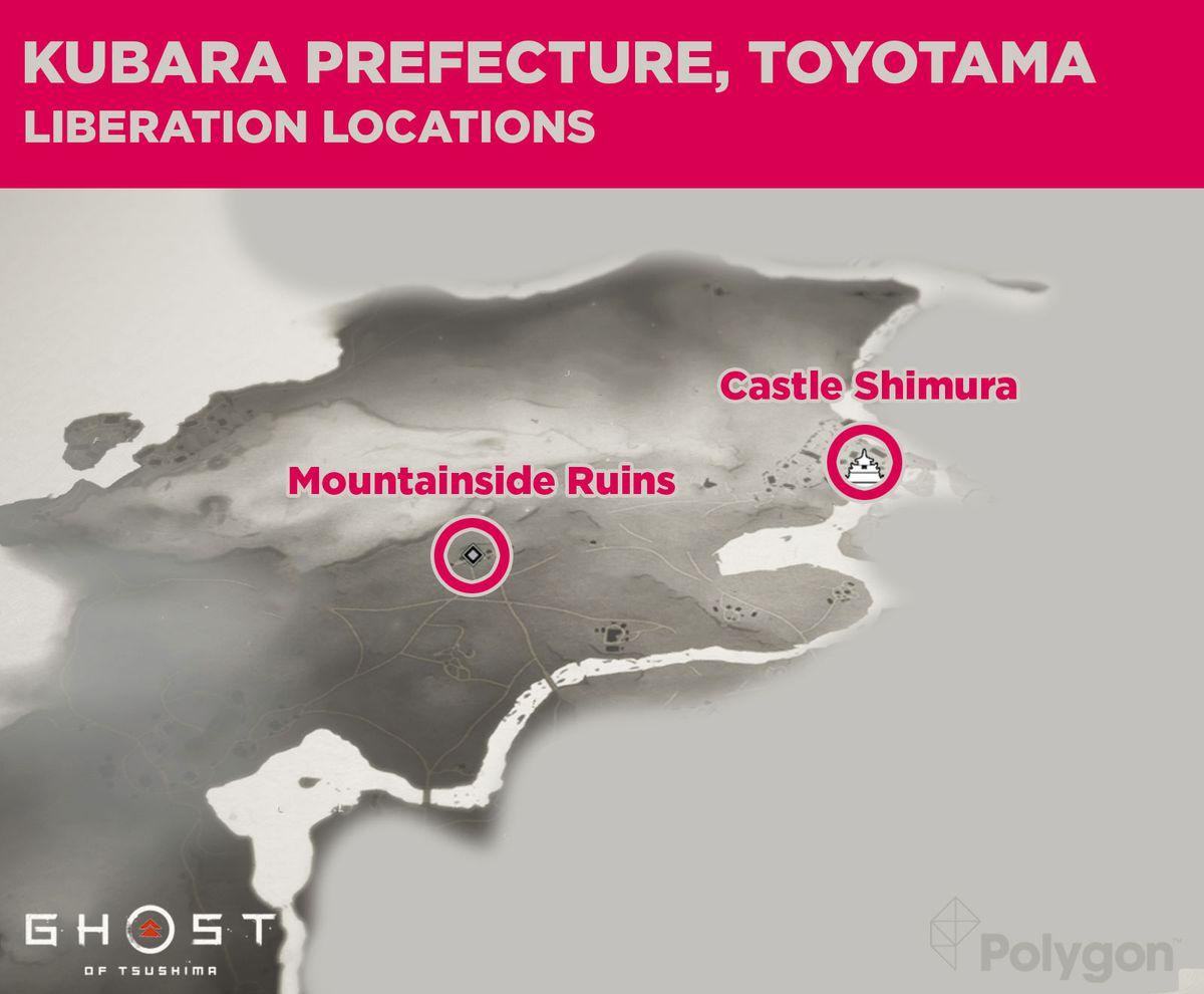 Lugares de lanzamiento para la prefectura de Kubara en Ghost of Tsushima, que incluyen: Ruinas de la ladera de la montaña y Castillo Shimura.