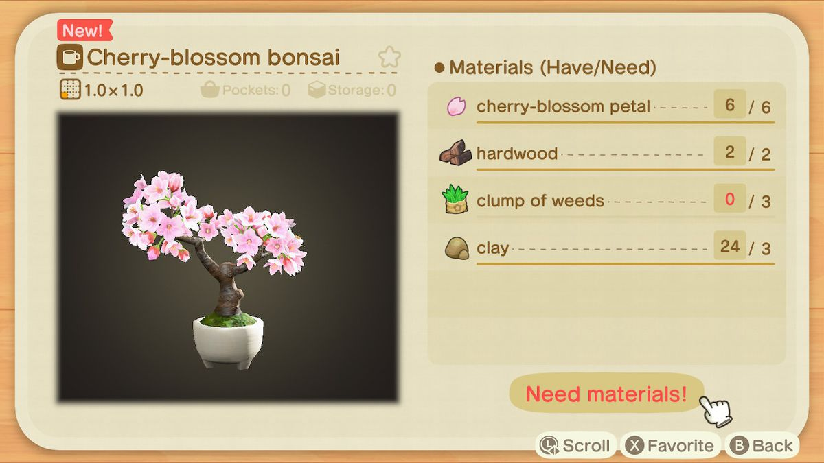 An Animal Crossing: receta de New Horizons para un bonsái de cereza