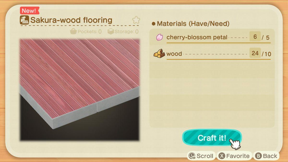 Una pantalla de creación de Animal Crossing que muestra lo que necesitas para hacer un piso de madera Sakura