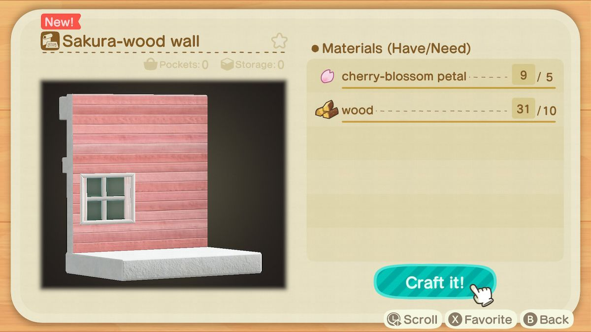 Una receta de Animal Crossing para la pared de madera de Sakura