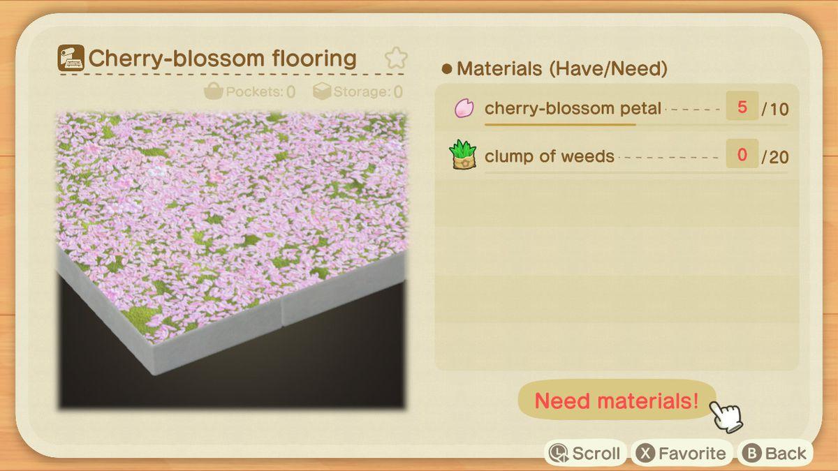 Un lienzo artesanal de Animal Crossing que muestra cómo hacer un piso de flores de cerezo