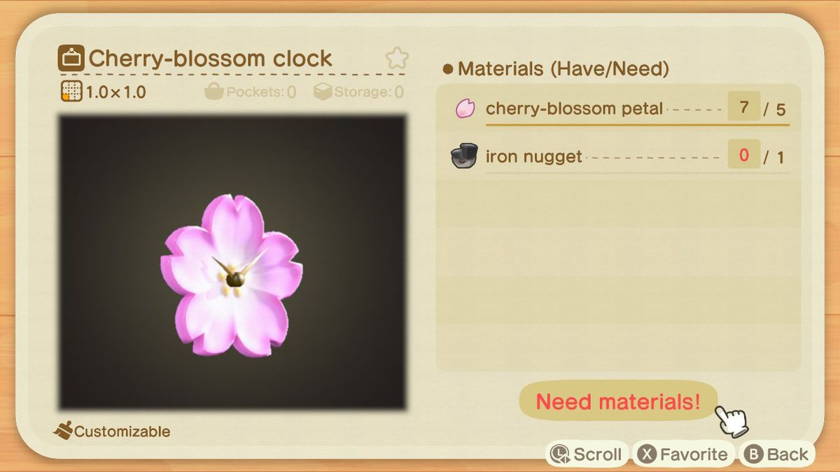 Una pantalla de creación de Animal Crossing que muestra cómo hacer un reloj de flor de cerezo