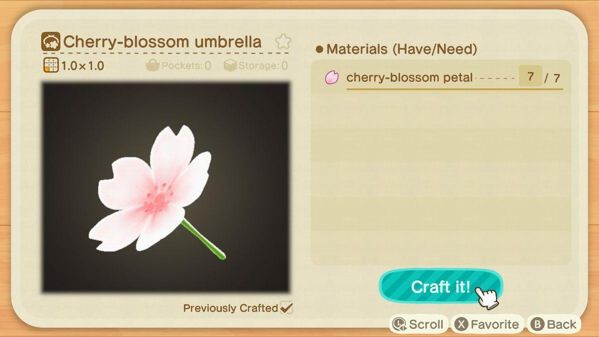 Una receta para un paraguas de flores de cerezo.
