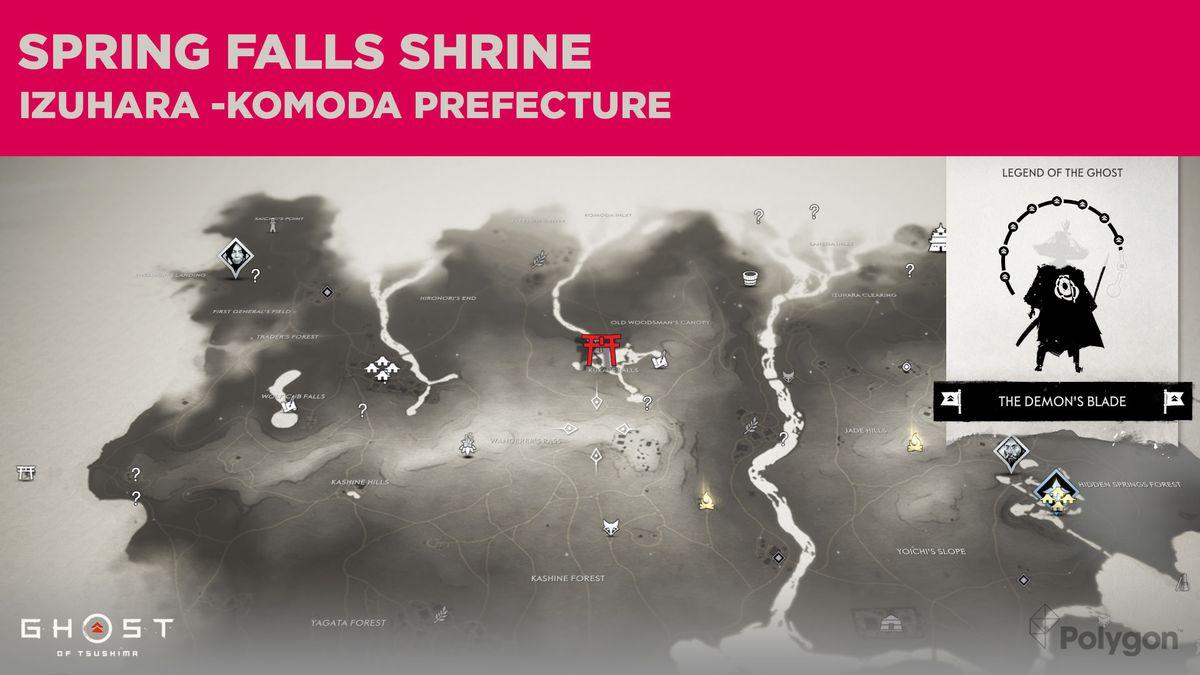 La ubicación del Santuario de Spring Falls en Ghost of Tsushima