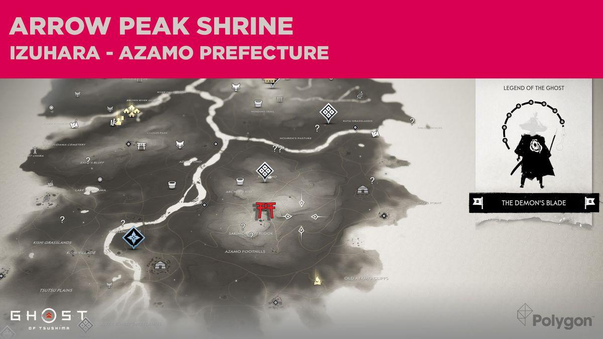 La ubicación del santuario Arrow Peak en Ghost of Tsushima