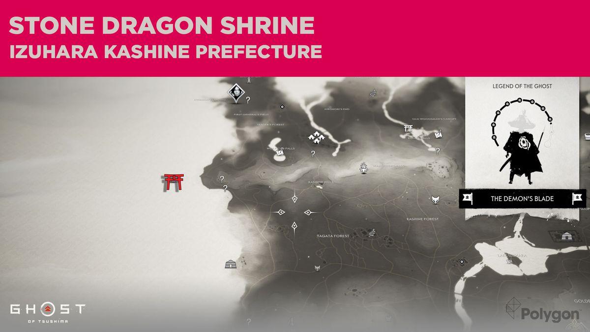 La ubicación del Santuario del Dragón de Piedra en Ghost of Tsushima