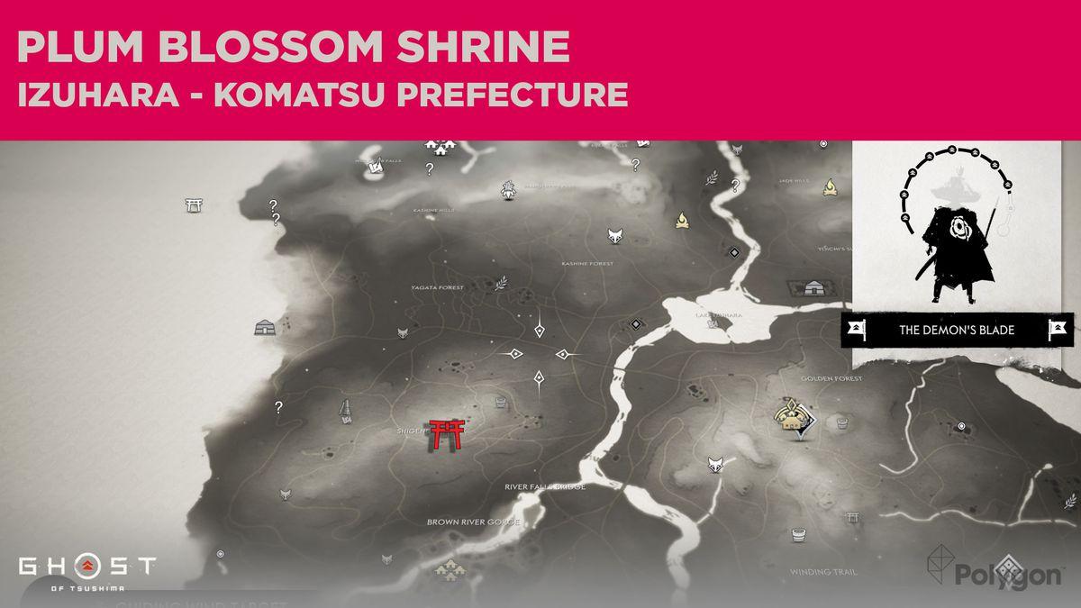La ubicación del Santuario Plum Blossom en Ghost of Tsushima