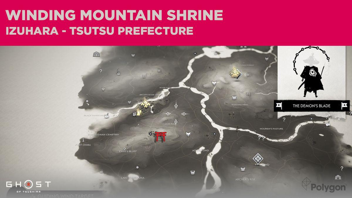 La ubicación del Santuario de Winding Mountain en Ghost of Tsushima