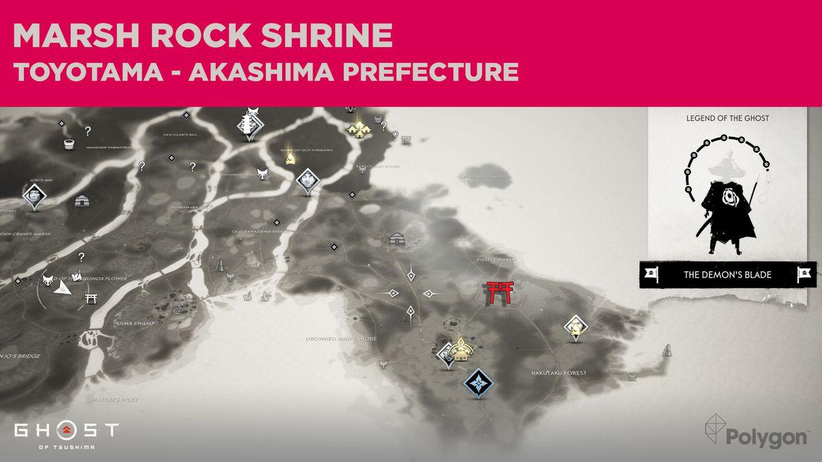 La ubicación del Santuario de Marsh Rock en Ghost of Tsushima