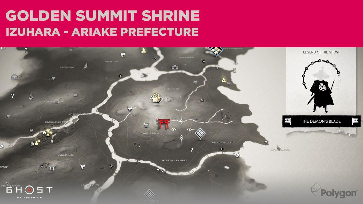 La ubicación del Santuario de la Cumbre Dorada en Ghost of Tsushima