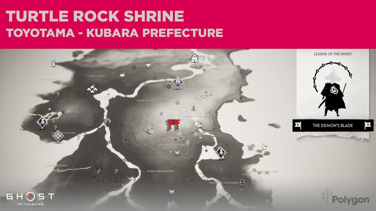 La ubicación del Santuario Turtle Rock en Ghost of Tsushima
