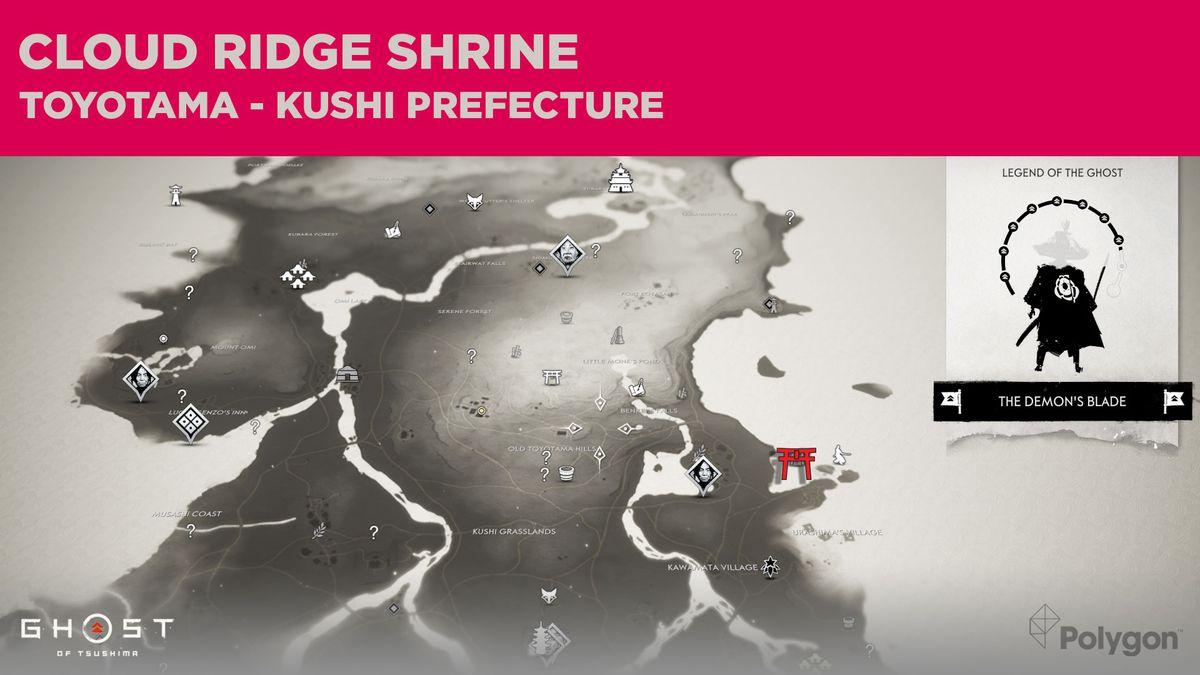 La ubicación del Santuario Cloud Ridge en Ghost of Tsushima