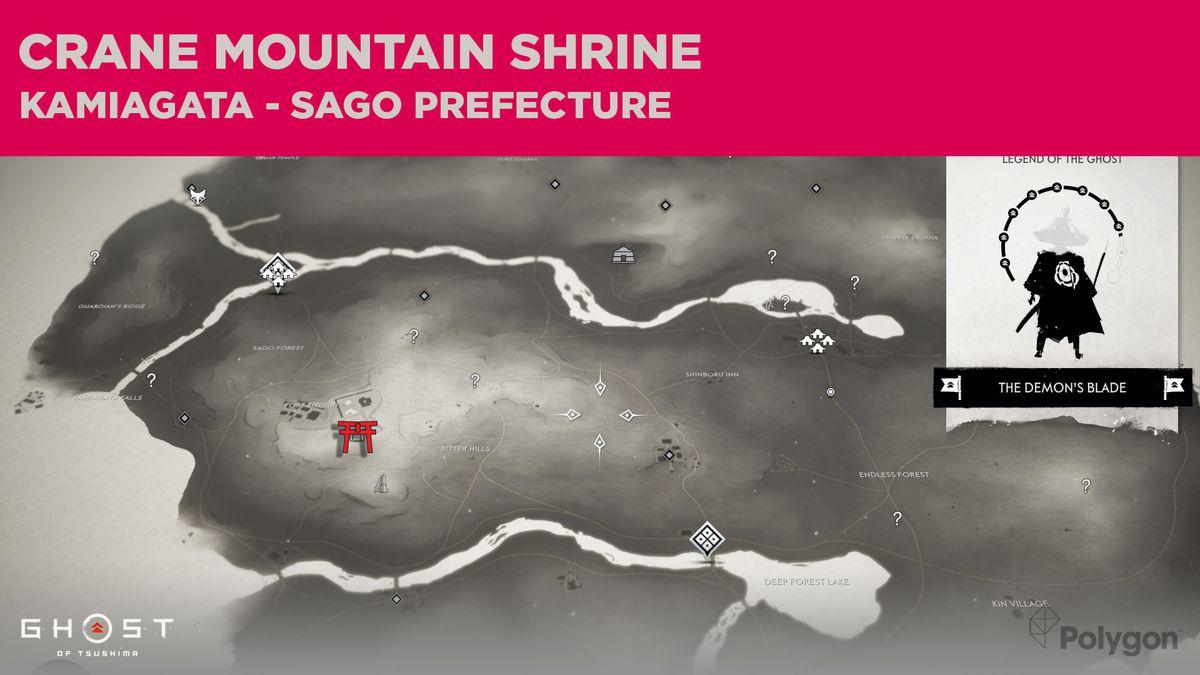 La ubicación del Santuario de Crane Mountain en Ghost of Tsushima