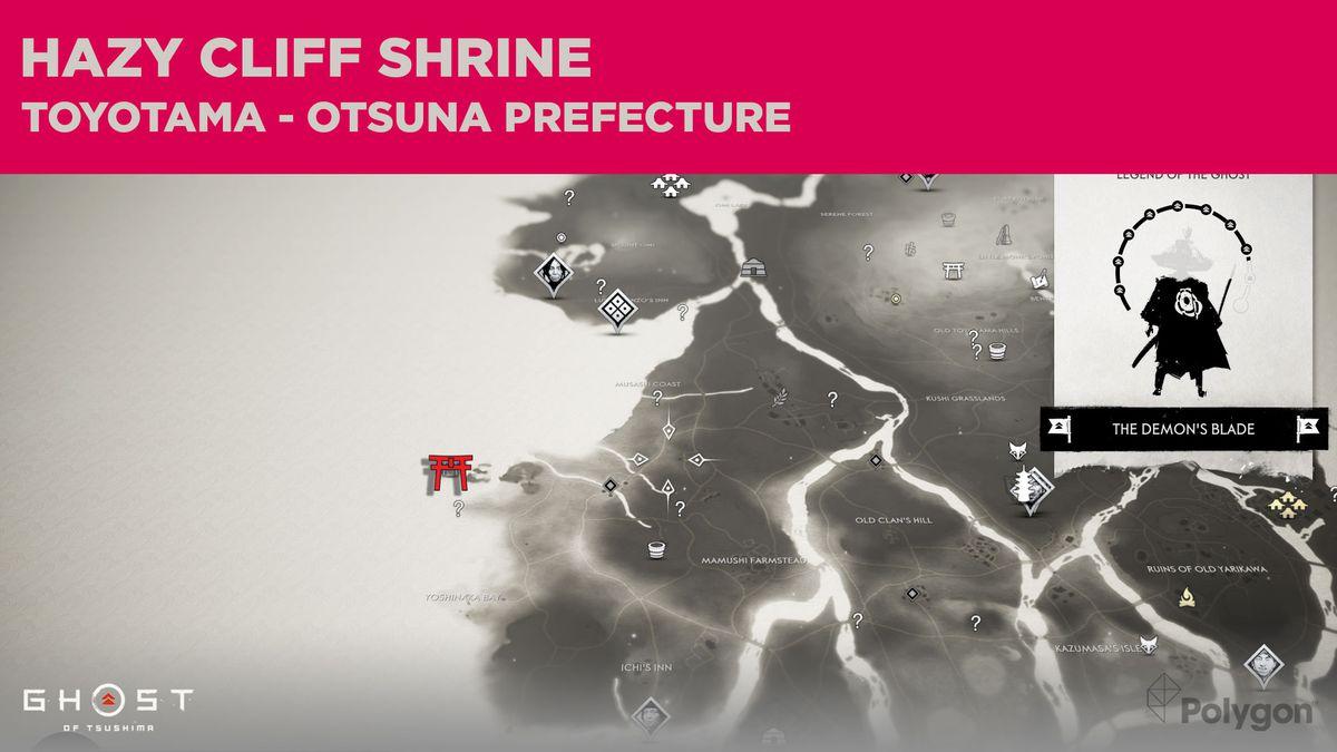 La ubicación del Santuario Hazy Cliff en Ghost of Tsushima
