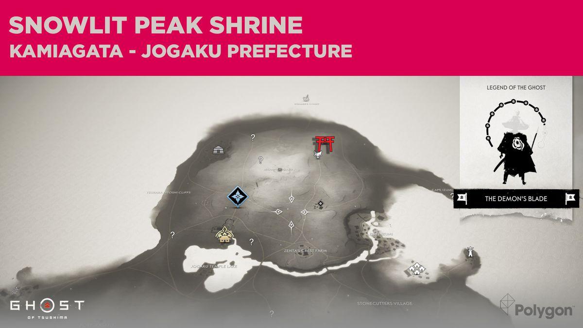 La ubicación del Santuario del Pico Iluminado por la Nieve en Ghost of Tsushima
