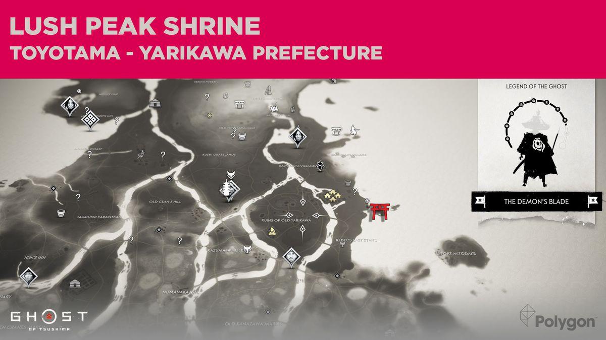 La ubicación del Santuario de Lush Peak en Ghost of Tsushima