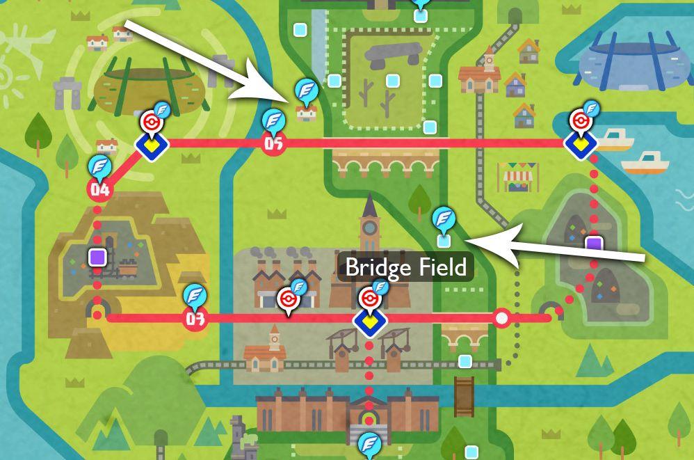 Un mapa muestra dónde están los dos viveros de Pokémon en la región de Galar.