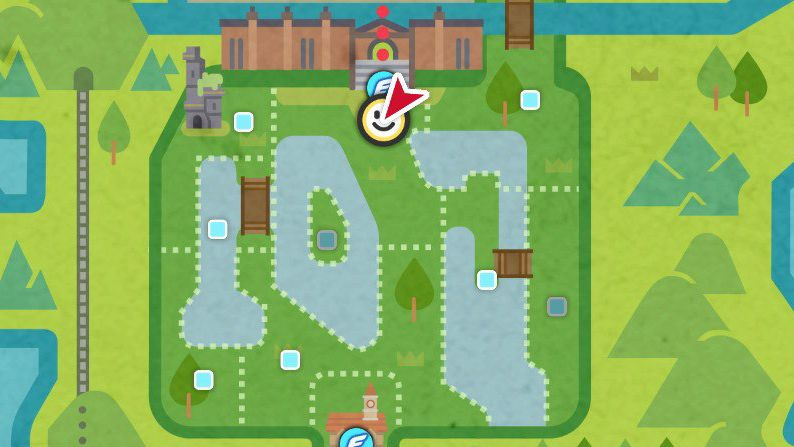 Un mapa que muestra el paradero de dos PNJ importantes en Pokémon Sword and Shield