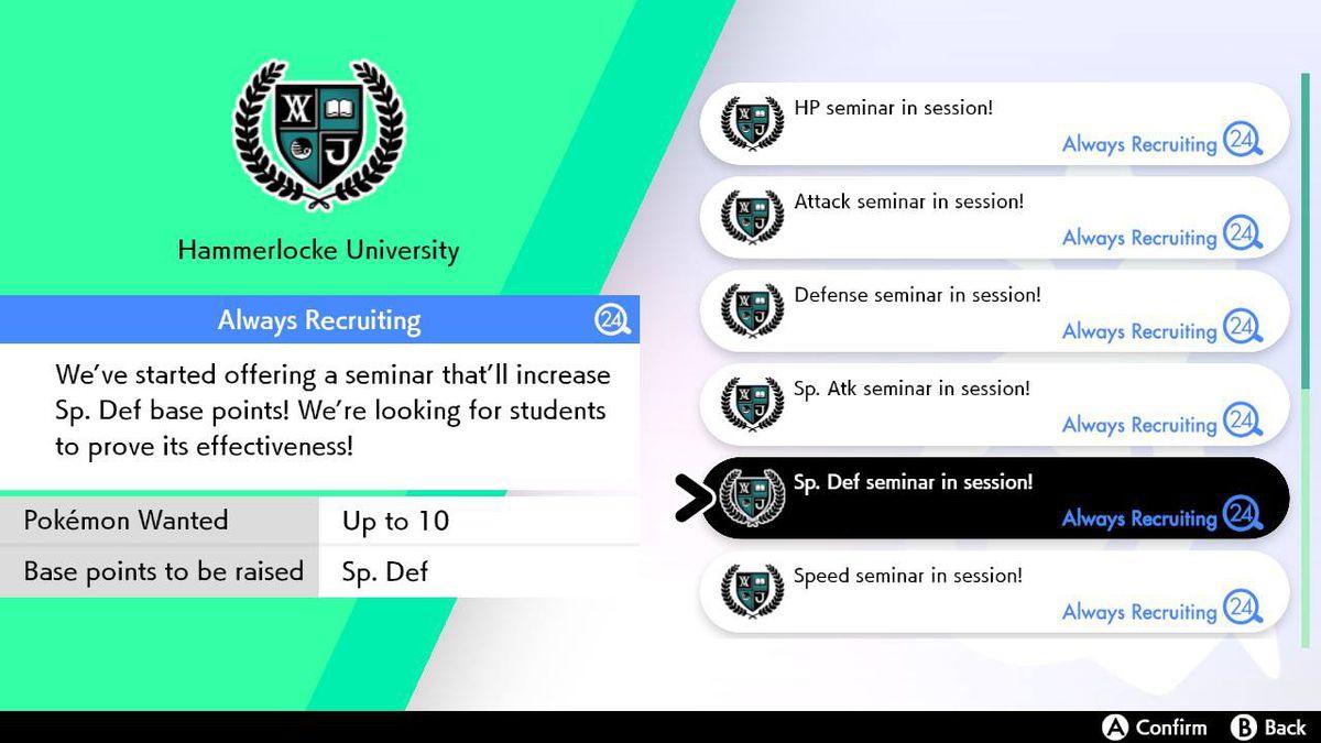 El menú de tareas en Pokémon Sword and Shield muestra los seminarios de la Universidad Hammerlocke, donde los Pokémon pueden aumentar sus EV