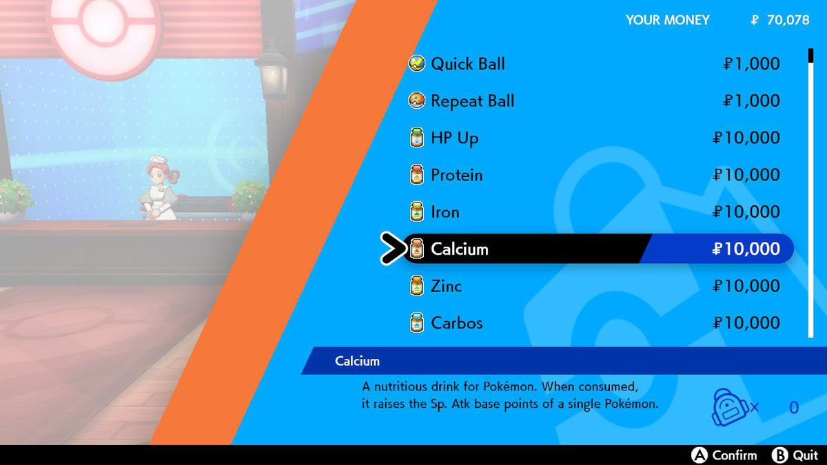 Un menú de Pokémon Sword and Shield que muestra algunas Poké Balls y vitaminas especiales a la venta
