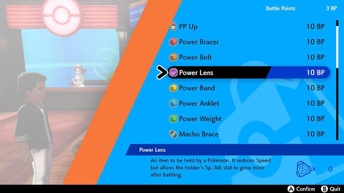 Un menú de compras en Pokémon Sword and Shield muestra que puedes comprar artículos de poder, Macho Brace y algunas vitaminas.