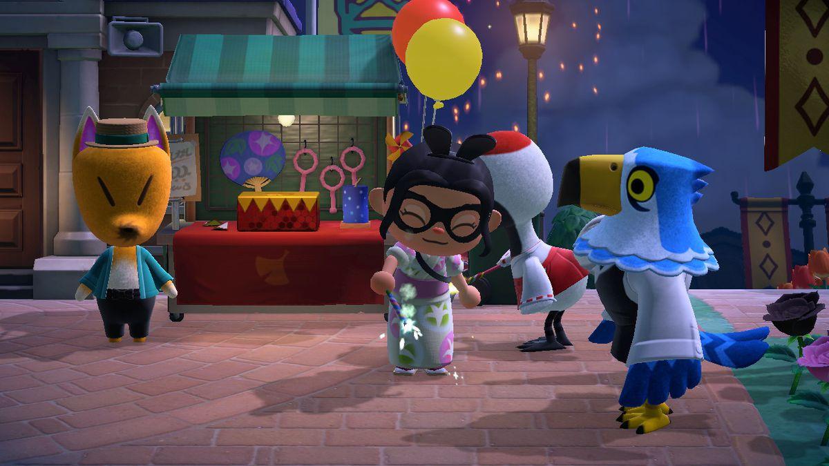 Un personaje de Animal Crossing usa una bengala azul