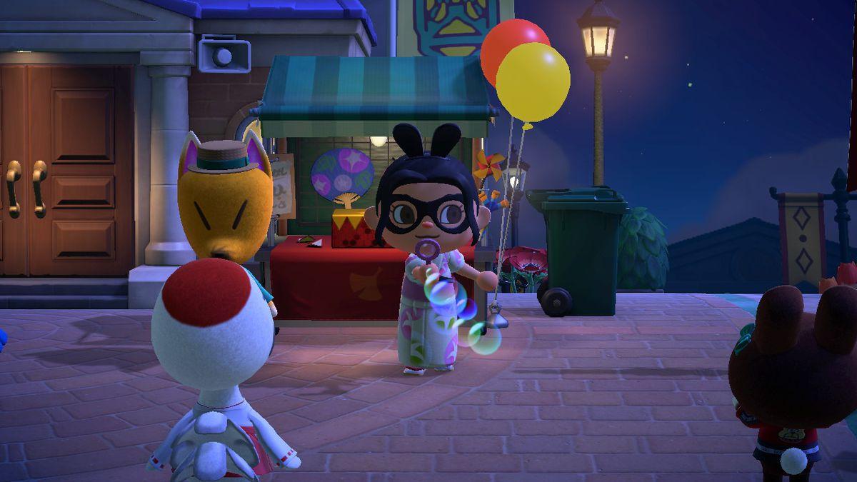 Un personaje de Animal Crossing soplando burbujas