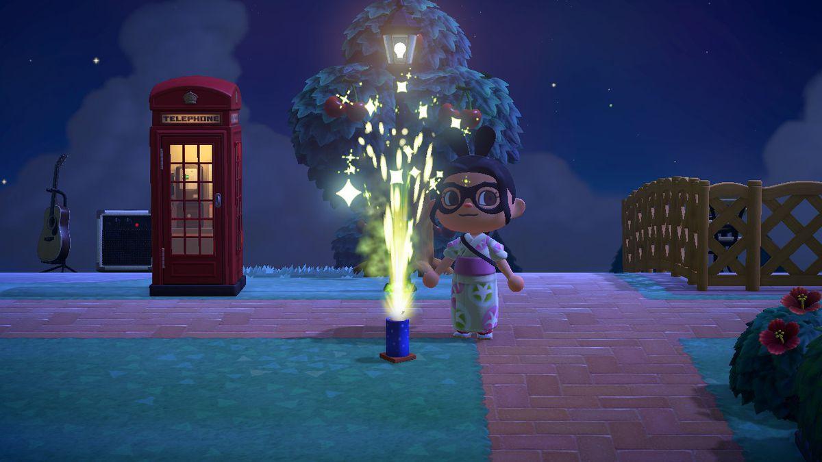 Un personaje de Animal Crossing está detrás de una fuente de explosión de fuegos artificiales.