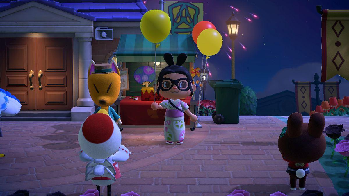 Un personaje de Animal Crossing sostiene un globo amarillo.