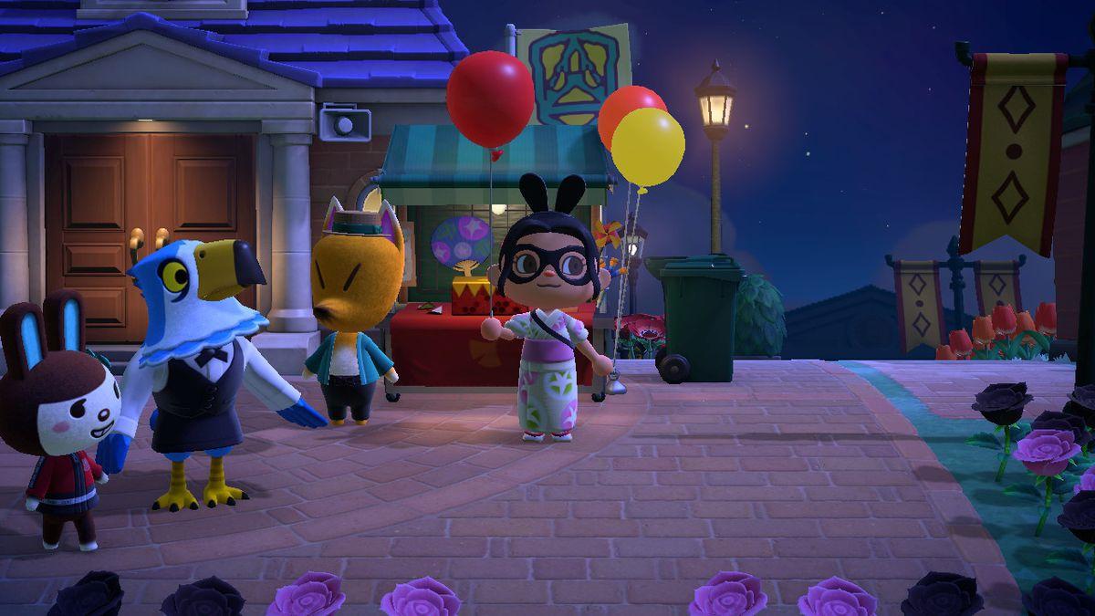 Un personaje de Animal Crossing sostiene un globo rojo.