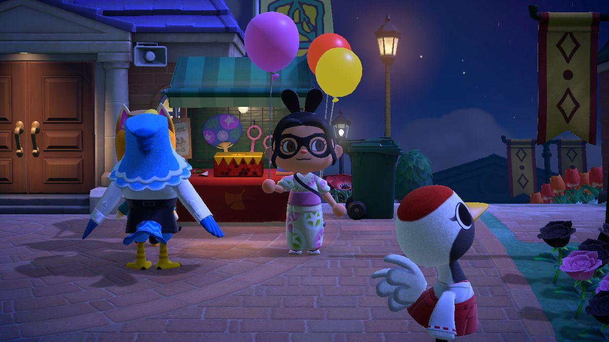 Un personaje de Animal Crossing sostiene un globo rosa.