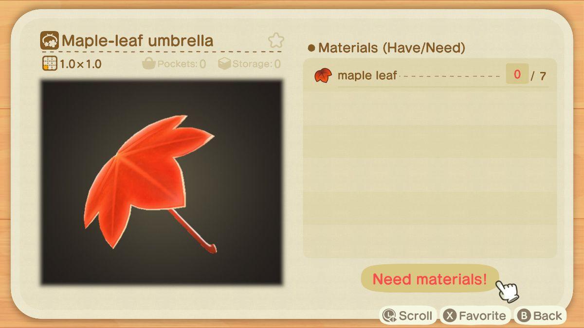 Una lista de recetas para un paraguas de hoja de arce.