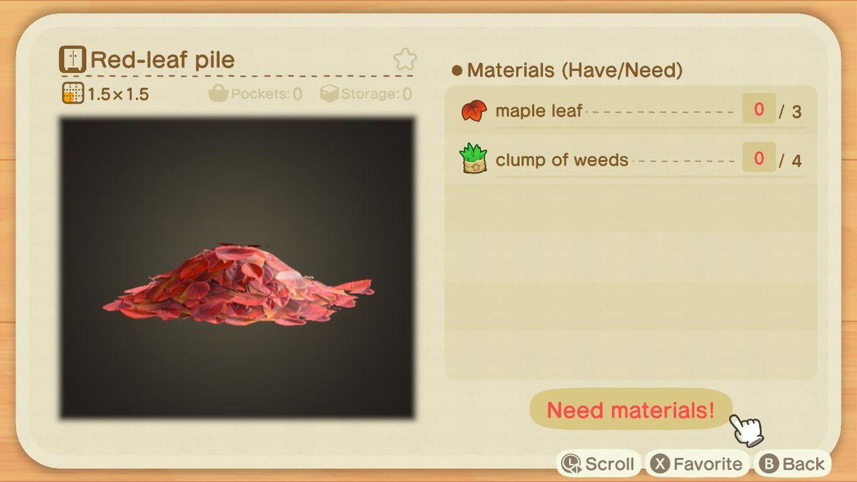 Una lista de recetas para un montón de hojas rojas.