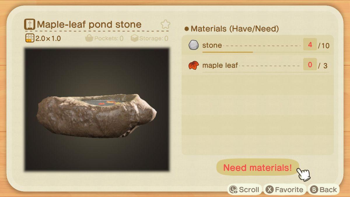 Una lista de recetas para una piedra de lago con hoja de arce.