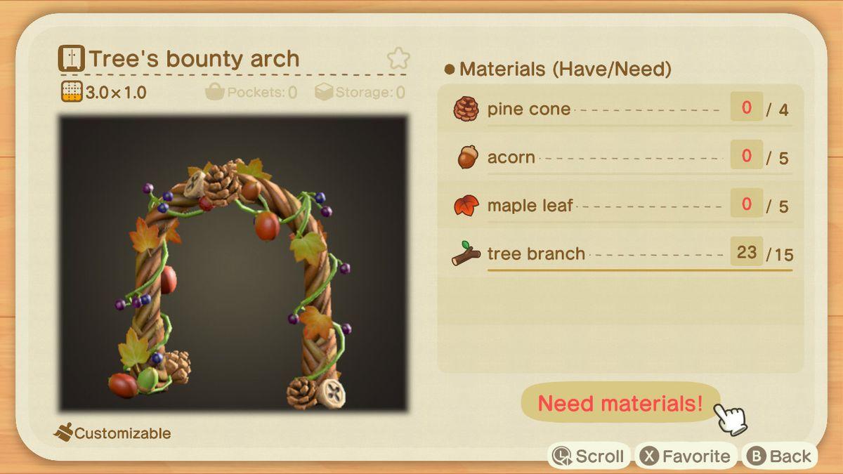 Una lista de recetas para el Arco de recompensa de un árbol