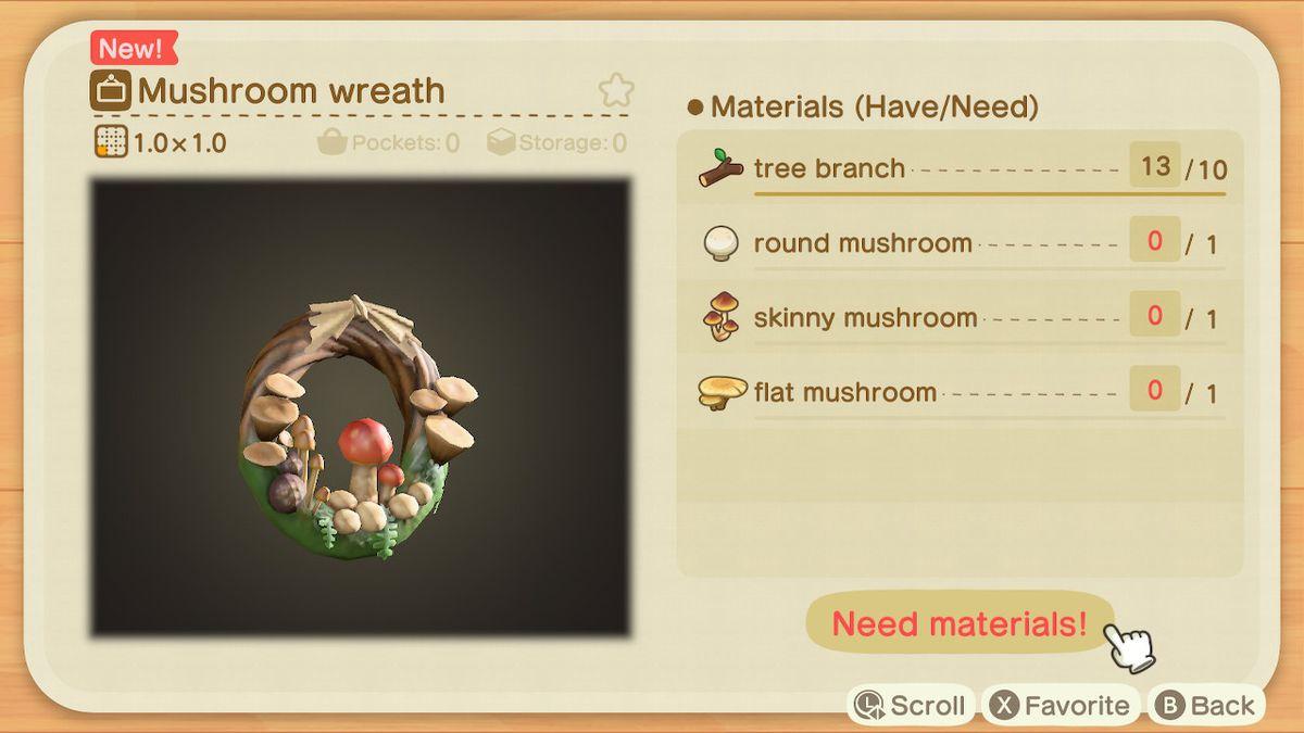 Una lista de recetas para una corona de hongos.