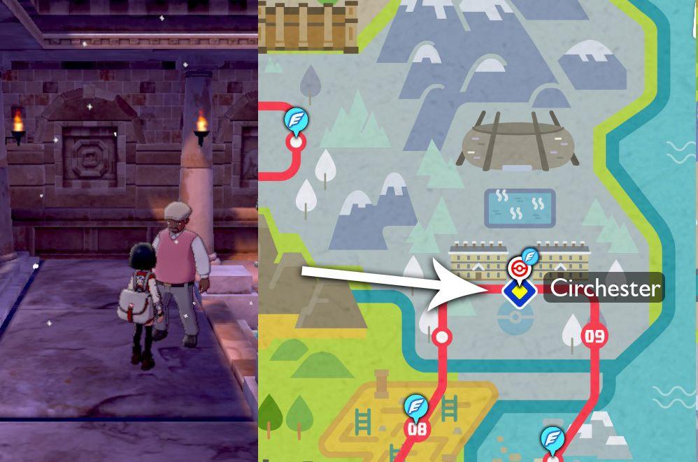 Un mapa indica dónde encontrar al tutor Draco Meteor Move