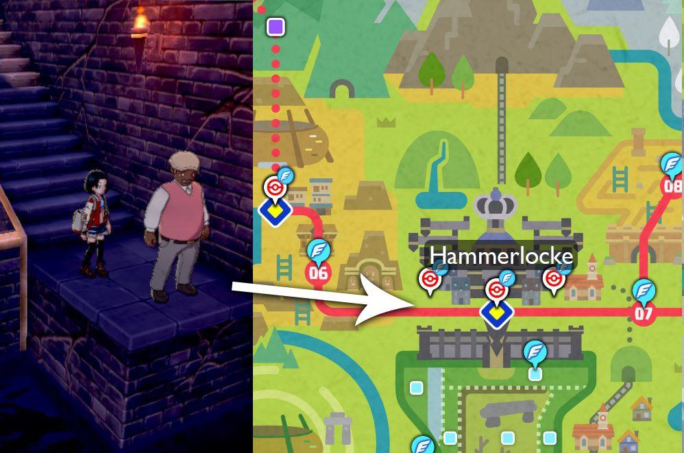 Un mapa indica que el Tutor de movimiento de compromiso se puede encontrar a la izquierda de Hammerlocke