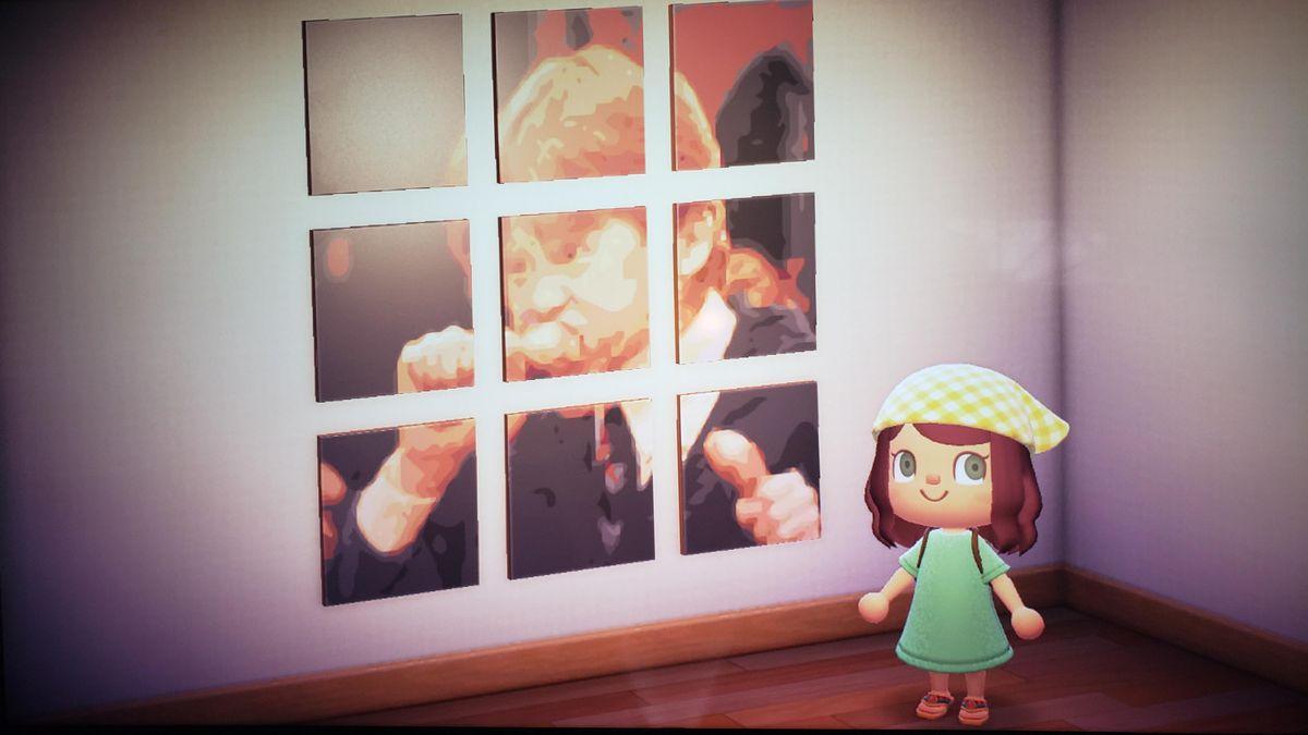 Un personaje de Animal Crossing se para frente a varias pantallas que componen la imagen de Ron Weasley comiendo pollo.
