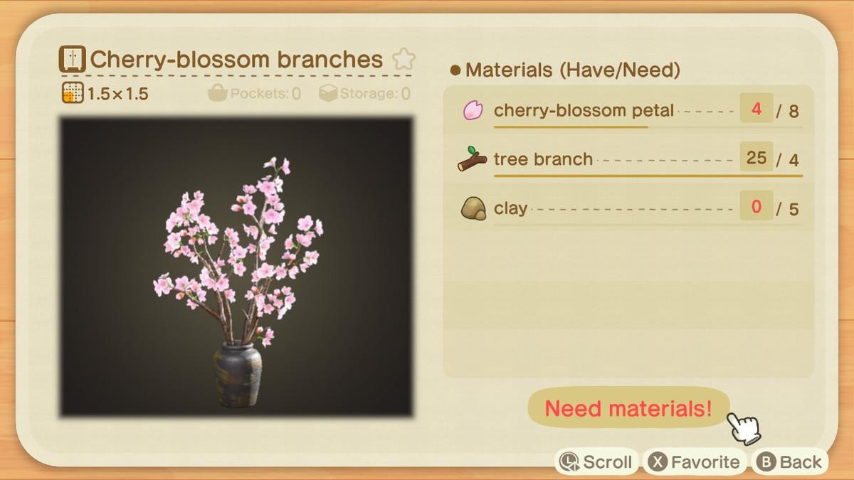 Una pantalla de creación de Animal Crossing para ramas de cerezo