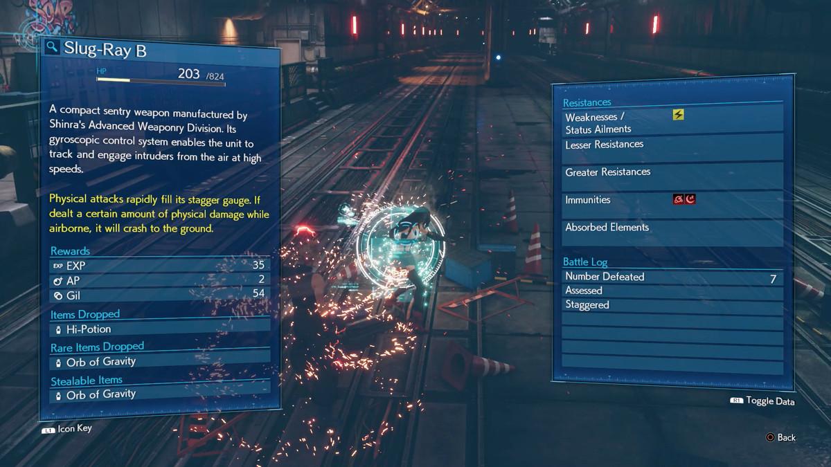 Final Fantasy 7 Remake Evaluar la habilidad Materia inteligencia del enemigo debilidades estrategia